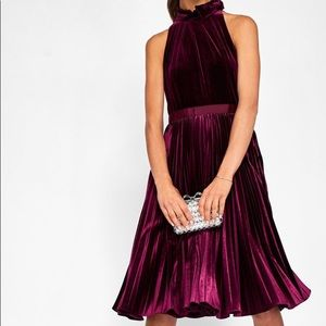 Ted Baker Oxblood Cornela Pleated Velvet Dress